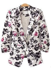 Black Lapel Single Breasted Florals Slim Blazer