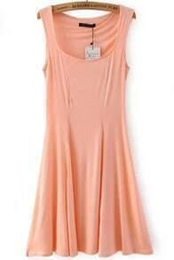 Pink Strap Slim Pleated Dress