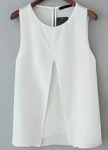 White Sleeveless Split Pleated Blouse