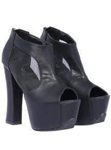 Black Peep Toe Hollow Mesh Shoes