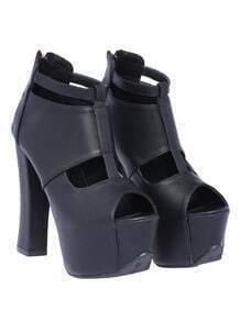 Black High Heel Hollow Peep Toe Shoes