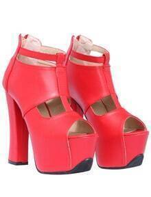 Red High Heel Hollow Peep Toe Shoes