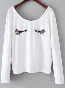 White Long Sleeve Eyelash Print T-Shirt