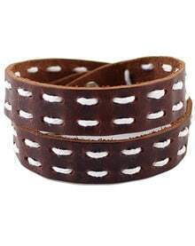 Brown Button Leather Bracelet