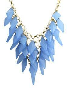Blue Multilayer Gold Chain Necklace