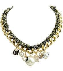 White Pearl Gold Chain Necklace