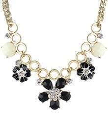 Black Flower Round Gold Necklace