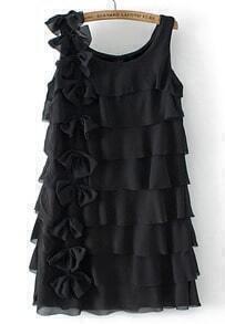Sleeveless Cascading Ruffle Bow Black Dress