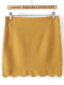Striped Bodycon Scalloped Yellow Skirt