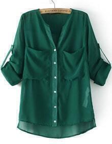 V Neck Pockets Dip Hem Green Blouse