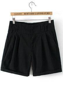Flange Pockets Straight Black Shorts