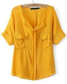 V Neck Pockets Yellow Blouse