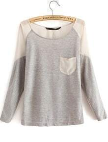 Contrast Sheer Pockets Grey Blouse