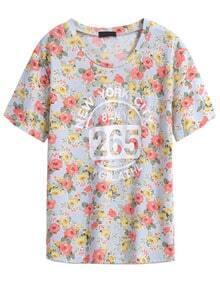 Floral 265 Print Sky Blue T-Shirt