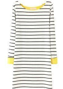 Striped Contrast Yellow Cuff White Dress