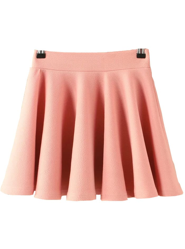 pleated flare pink skirt