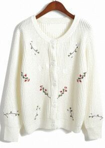 Floral Buttons Knit White Cardigan