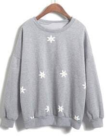 Round Neck Floral Loose Grey Sweatshirt
