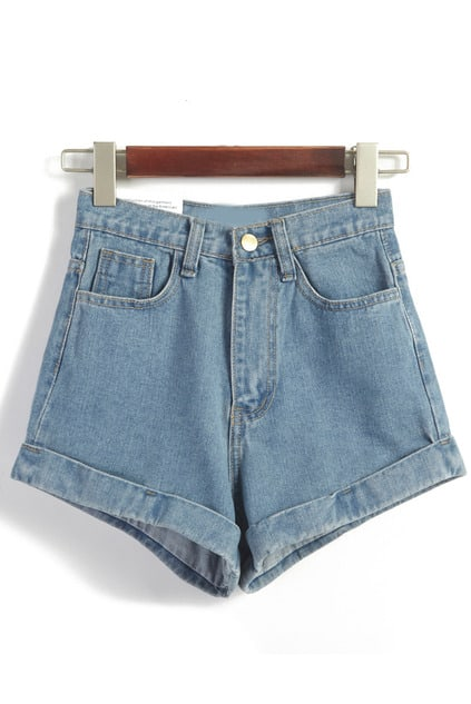 Hohe Taille Denim Shorts-blau