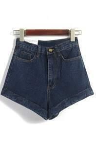 High Waist Loose Denim Navy Shorts
