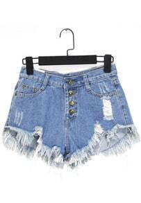 Ripped Tassel Denim Blue Shorts