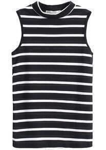 Stand Collar Sleeveless Striped Black T-Shirt