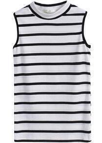 Stand Collar Sleeveless Striped White T-Shirt