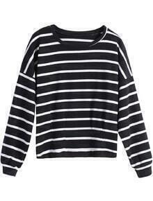 Round Neck Striped Loose Black T-Shirt