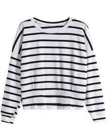 Round Neck Striped Loose White T-Shirt