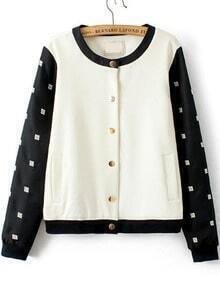 Colour-block Embroidered Buttons Jacket