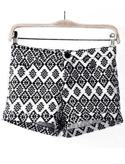 Geometric Print Straight Shorts