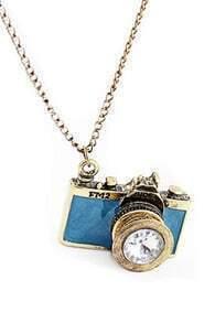 Camera Shaped Diamante Blue Necklace