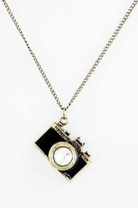 Camera Shaped Diamante Black Necklace