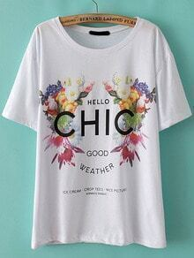 Floral CHIC Print Loose T-Shirt