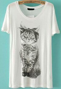 Bow Cat Print Loose T-Shirt