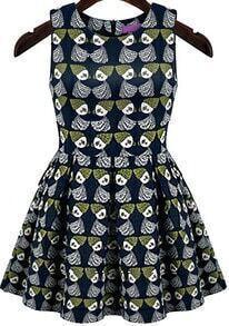 Sleeveless Doll Print Flare Dress
