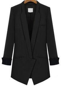 Lapel Fitted Black Blazer