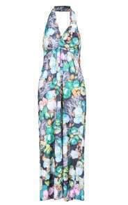 Halter Floral Maxi Green Dress