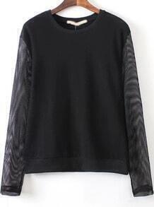 Black Contrast Sheer Mesh Long Sleeve Sweatshirt