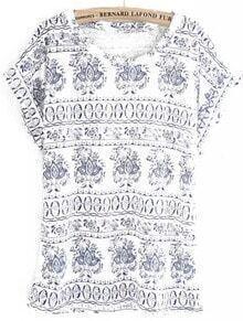 Round Neck Totem Print Blue T-Shirt