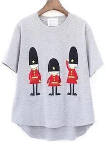 Soldier Print Dip Hem Grey T-Shirt