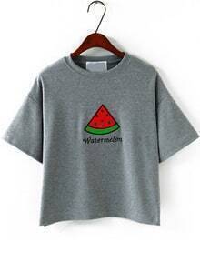 Watermelon Embroidered Loose Grey T-Shirt