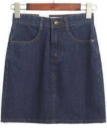 Vintage High Waist Denim Navy Skirt