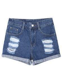 Ripped Flange Denim Shorts