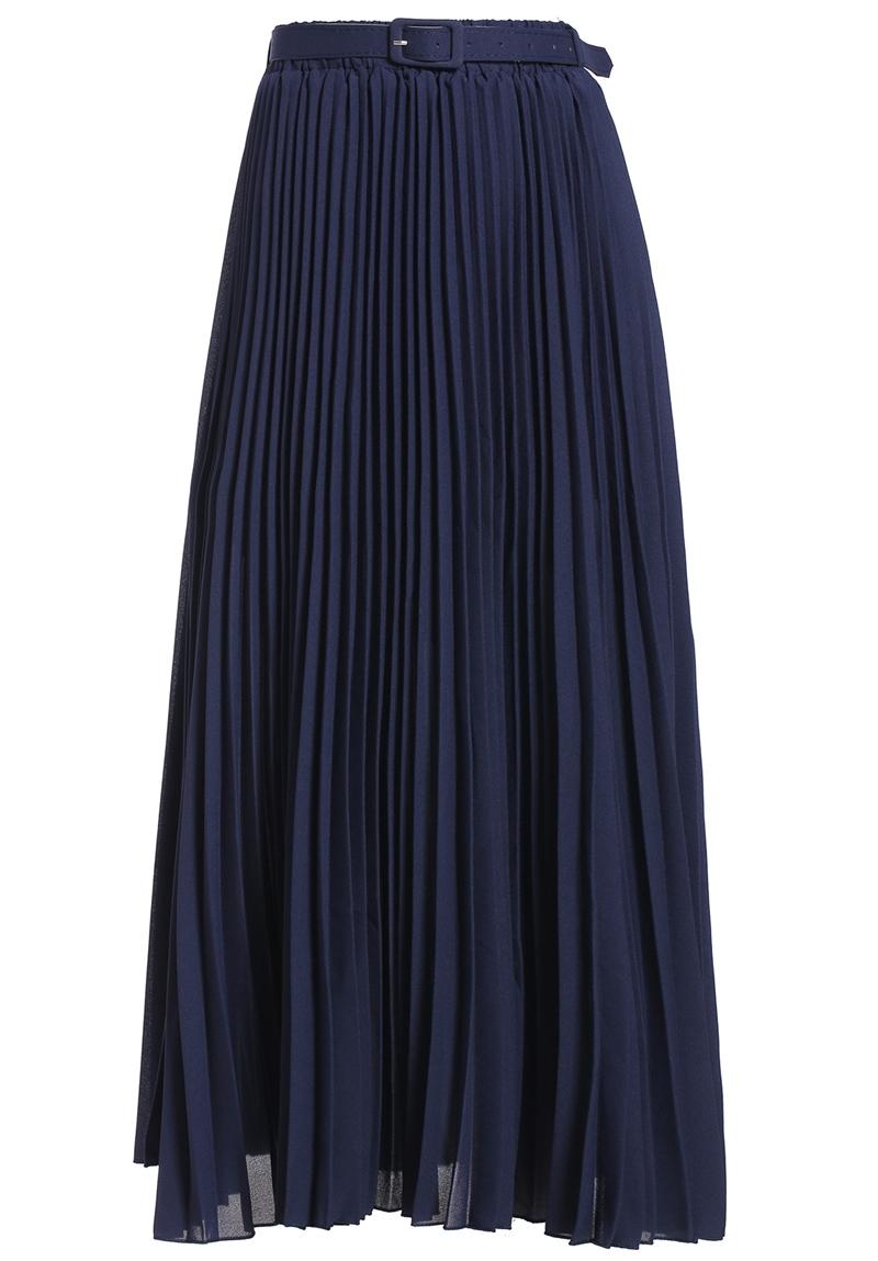 pleated chiffon blue skirt