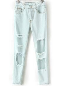 Ripped Slim Denim Light Blue Pant