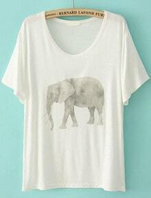 Elephant Print Loose White T-Shirt
