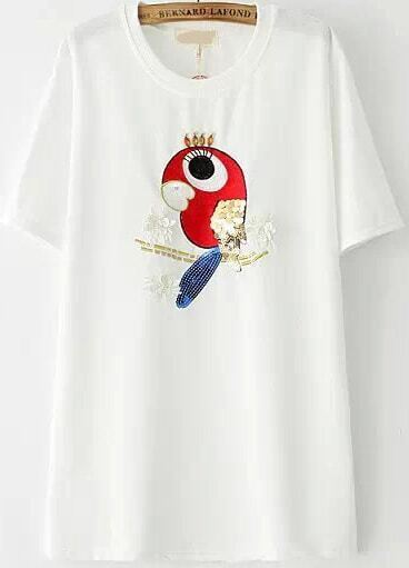 Parrot embroidered sequined applique white t shirtfor for Applique shirts for sale
