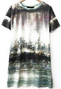 Scenery Print Loose Dress