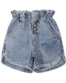 Elastic Waist Split Buttons Denim Shorts